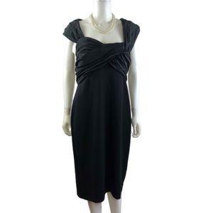 TADASHI SHOJI Black Pleated Evening Cocktail Dress